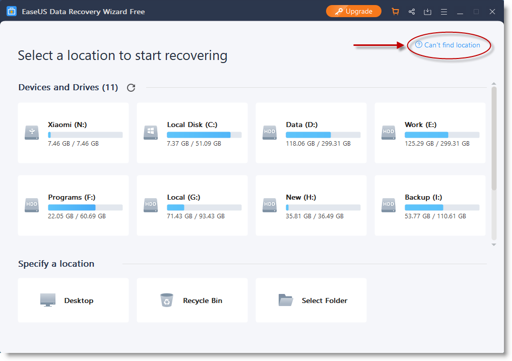 Locate SSD with EaseUS Data Recovery Wizard for Windows