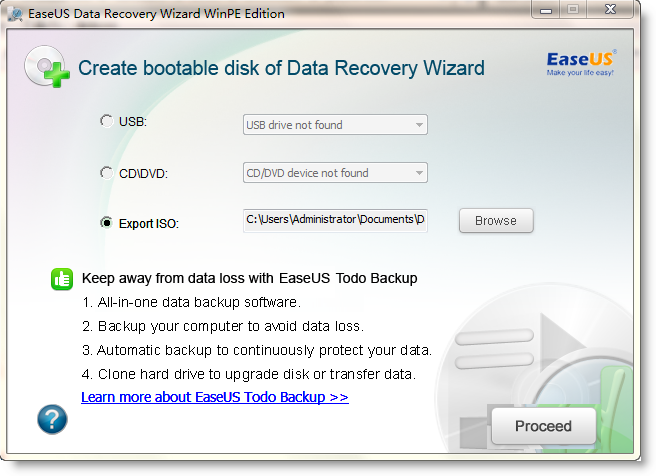 easeus data recovery iso