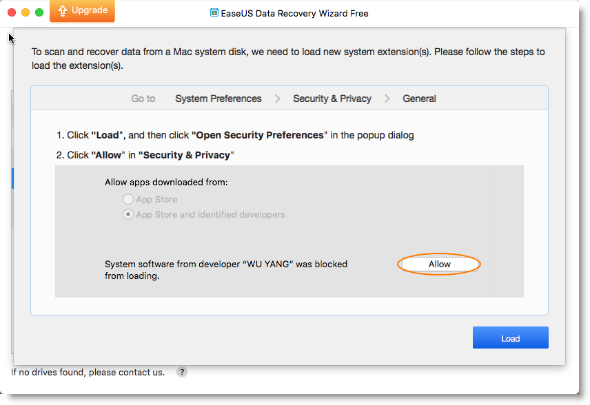 Load System Extension to Recover Lost Data from the Mac APFS