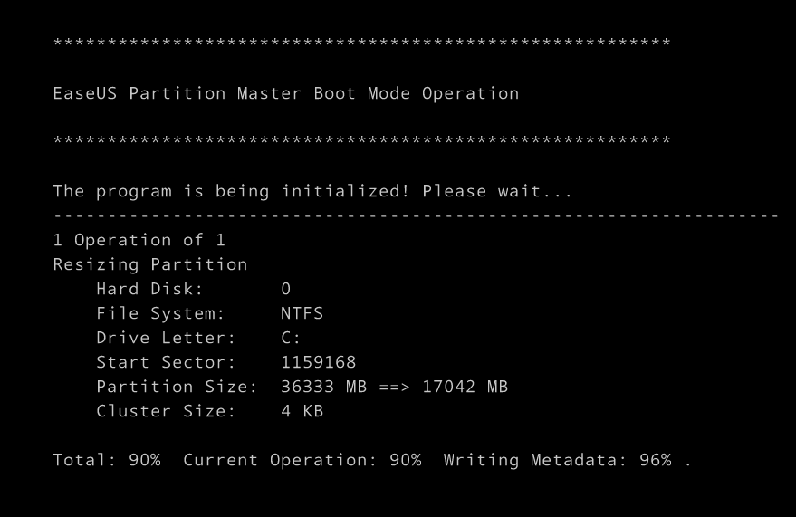 Execute operation in EaseUS Partition Master boot mode