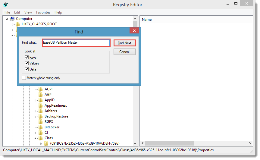 Search and delete registry information to uninstall partition master