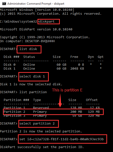 Change basic partition to EFI partition by setting partition ID