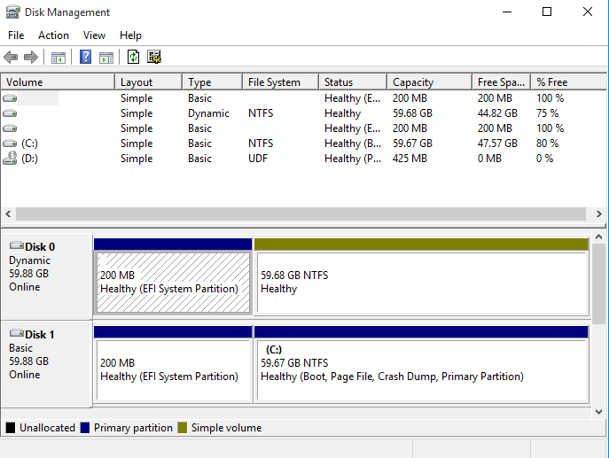 Check the disk status in Disk Management