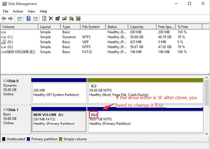 Clone C partition to target disk