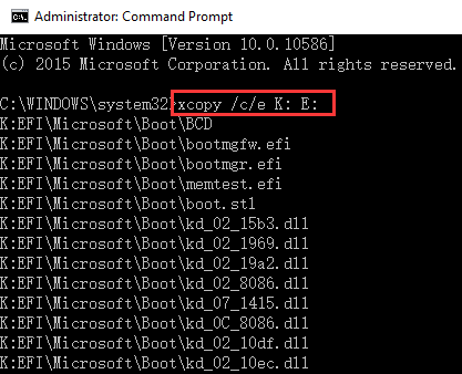 Copy files to EFI partition using XCopy