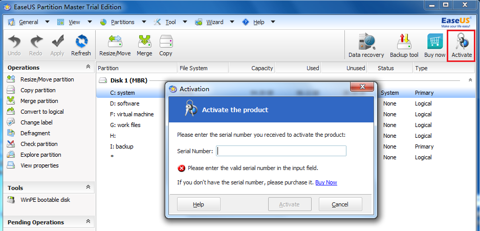 Activate partition master trial to paid edition