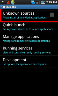 Allow Unknown Sources Application to be Installed on the Android Phone