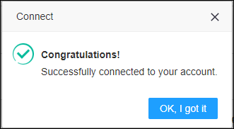 Successfully connected to your account