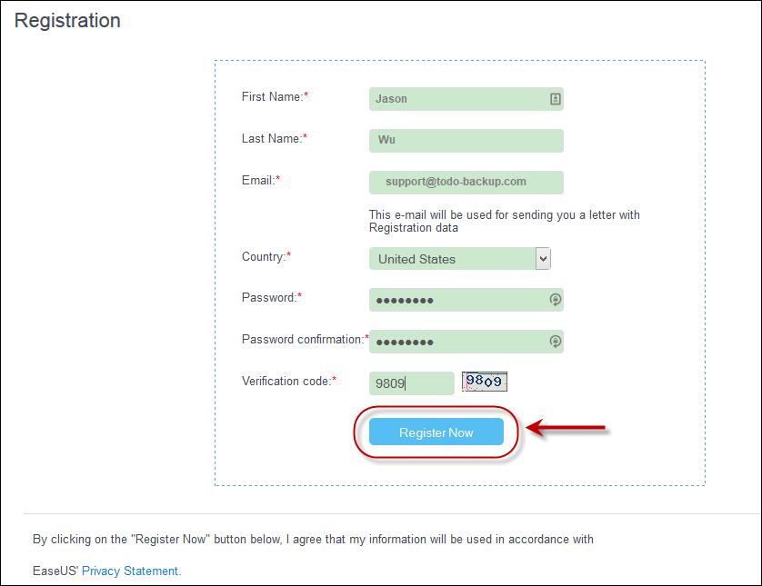 Register EaseUS Account