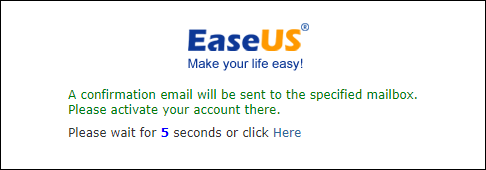 An confirmation email to help you activate your registered account