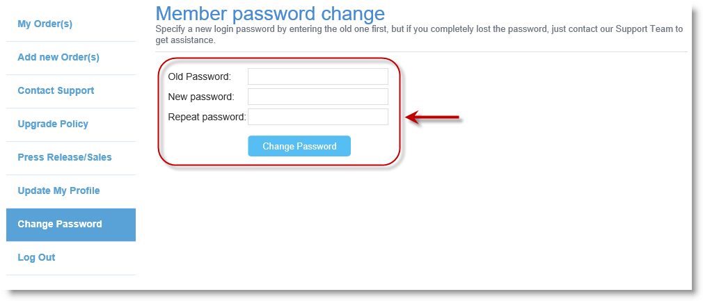 Allows you to change the password of the account