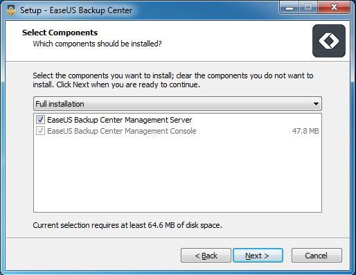 EaseUS Backup Center - インストール
