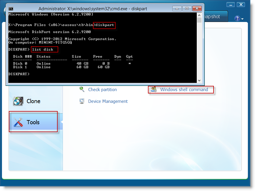Use Windows Shell Command of Todo backup to list partition