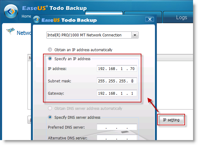 Configure IP address in Todo backup bootable disk