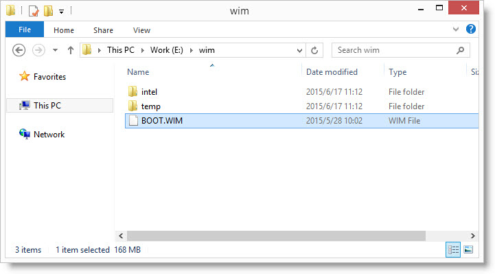 Save the file BOOT.WIM to local partition