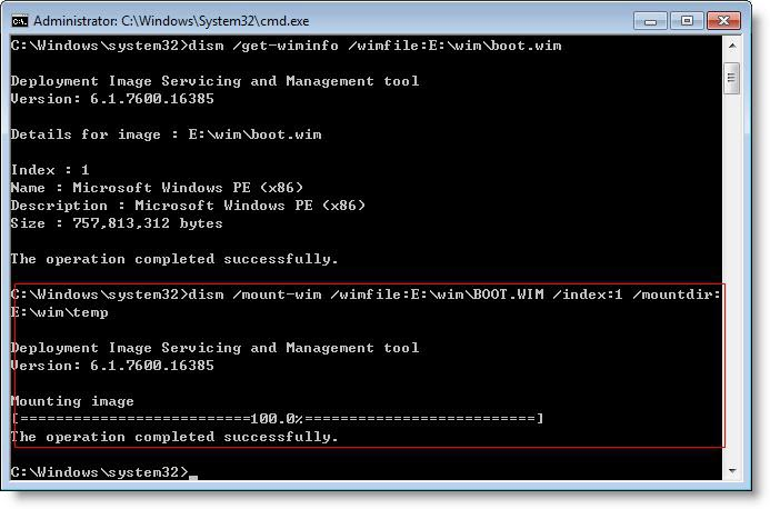 Mount BOOT.WIM file to add driver
