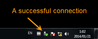 A successful connection can be seen in right corner of computer