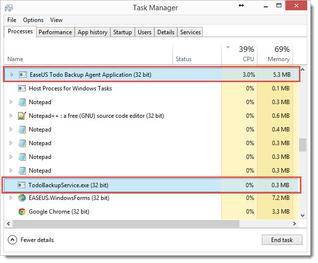 Kill the processes TodoBackupService.exe in Windows Task Manager
