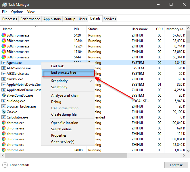 End process tree in Windows task manager
