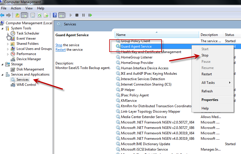 Click Manager to locate Windows service