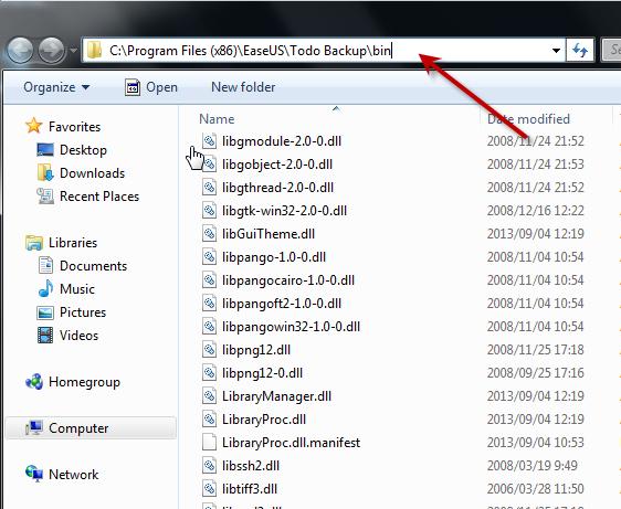 Access the bin folder of EaseUS Todo Backup installation directory