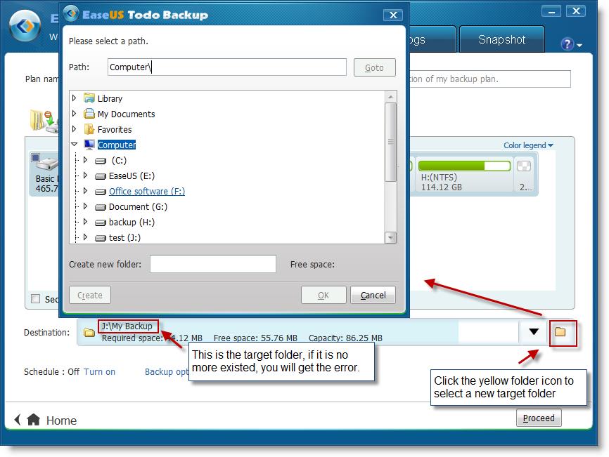 Manually create folder on target disk for saving backup image