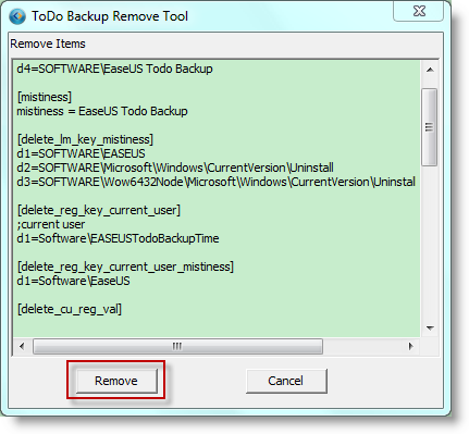 Remove Register info using remove tool