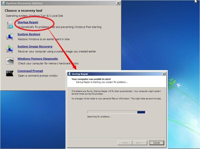 Perform a Startup Repair of Windows