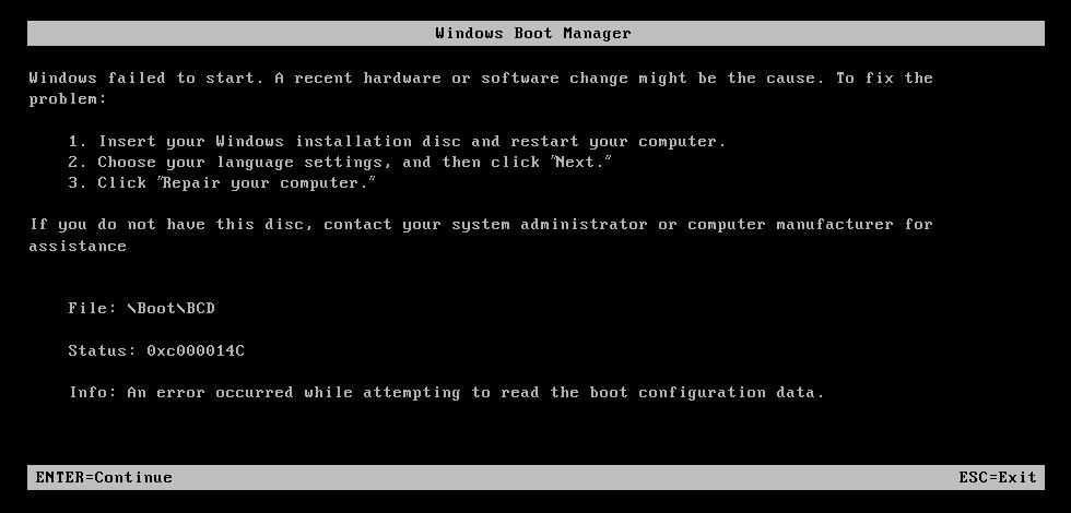 How to fix the error 0xc000014c