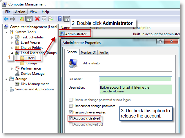 Login with Administrator account