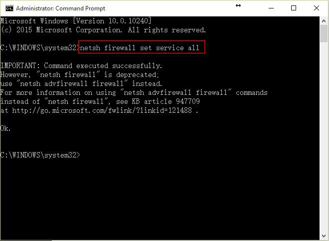 Enable the network shared option and others by command