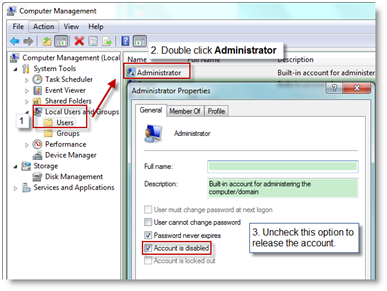 Enable Administrator account on target machine
