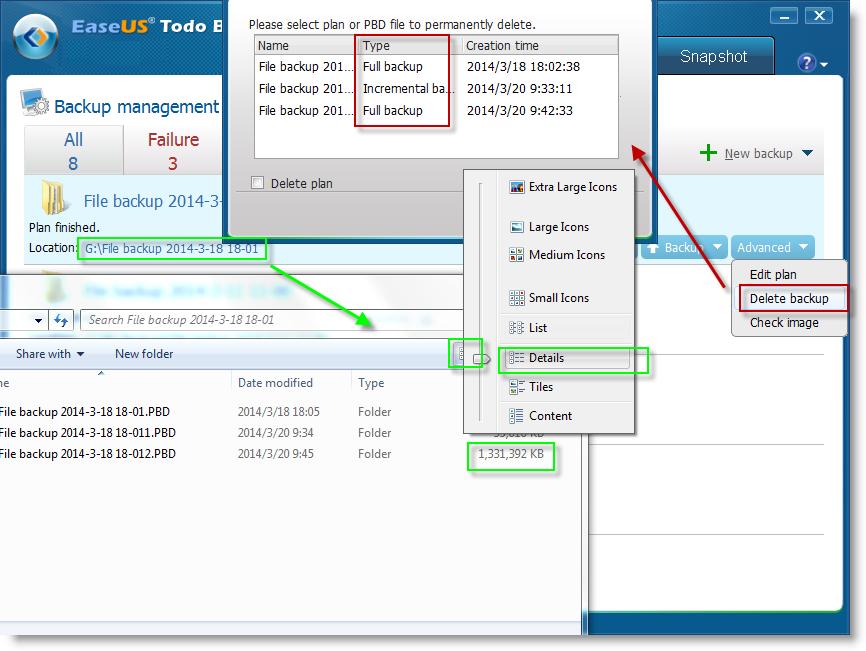 Delete or manage backup images