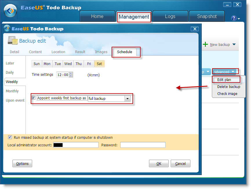 Appoint weekly first backup as full backup