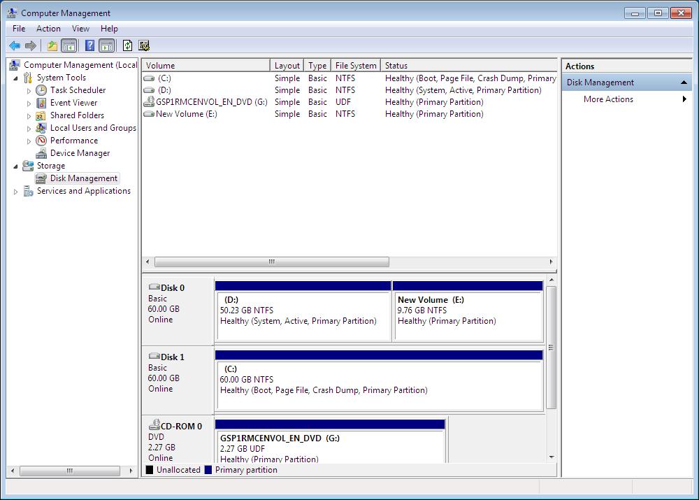 The screenshot of Windows disk management