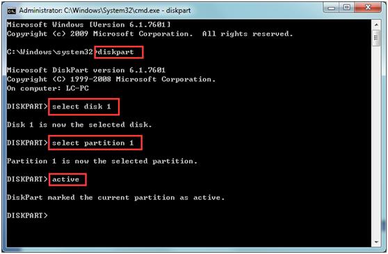 Set partition C as an active partition