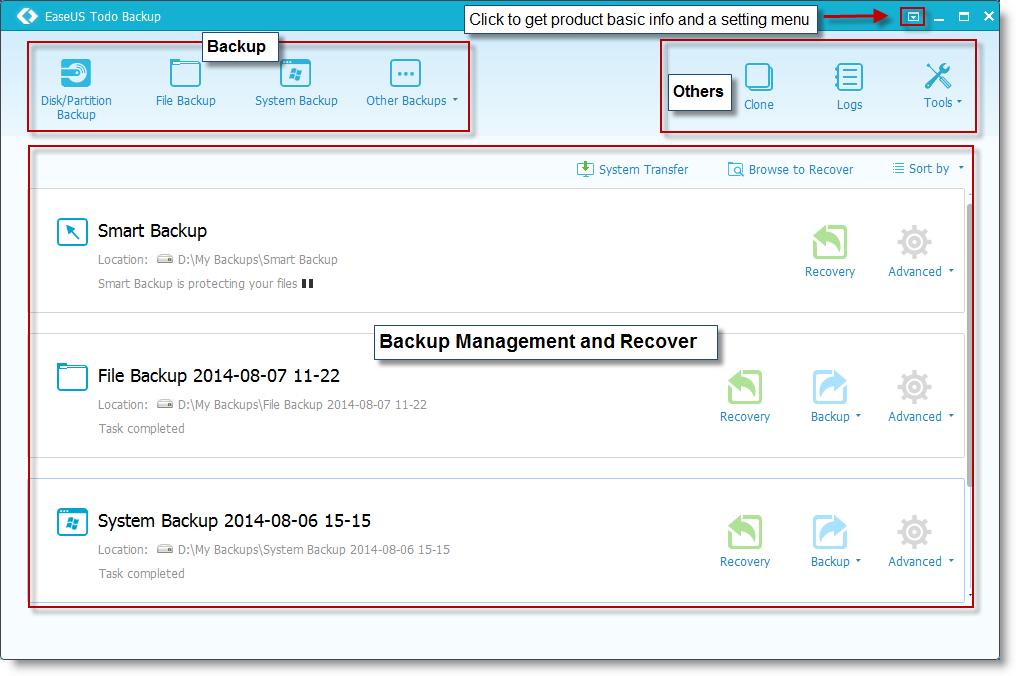 The screenshot of the main interface of todo backup