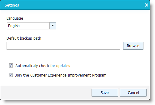 Click Settings will bring you the following configuration panel