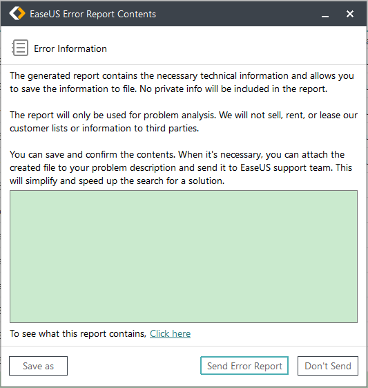 Send error report of EaseUS Todo Backup to EaseUS Support Team